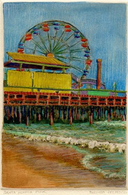 """Mixed Media Printmaking: Santa Monica Pier"" original fine art by Belinda Del Pesco"