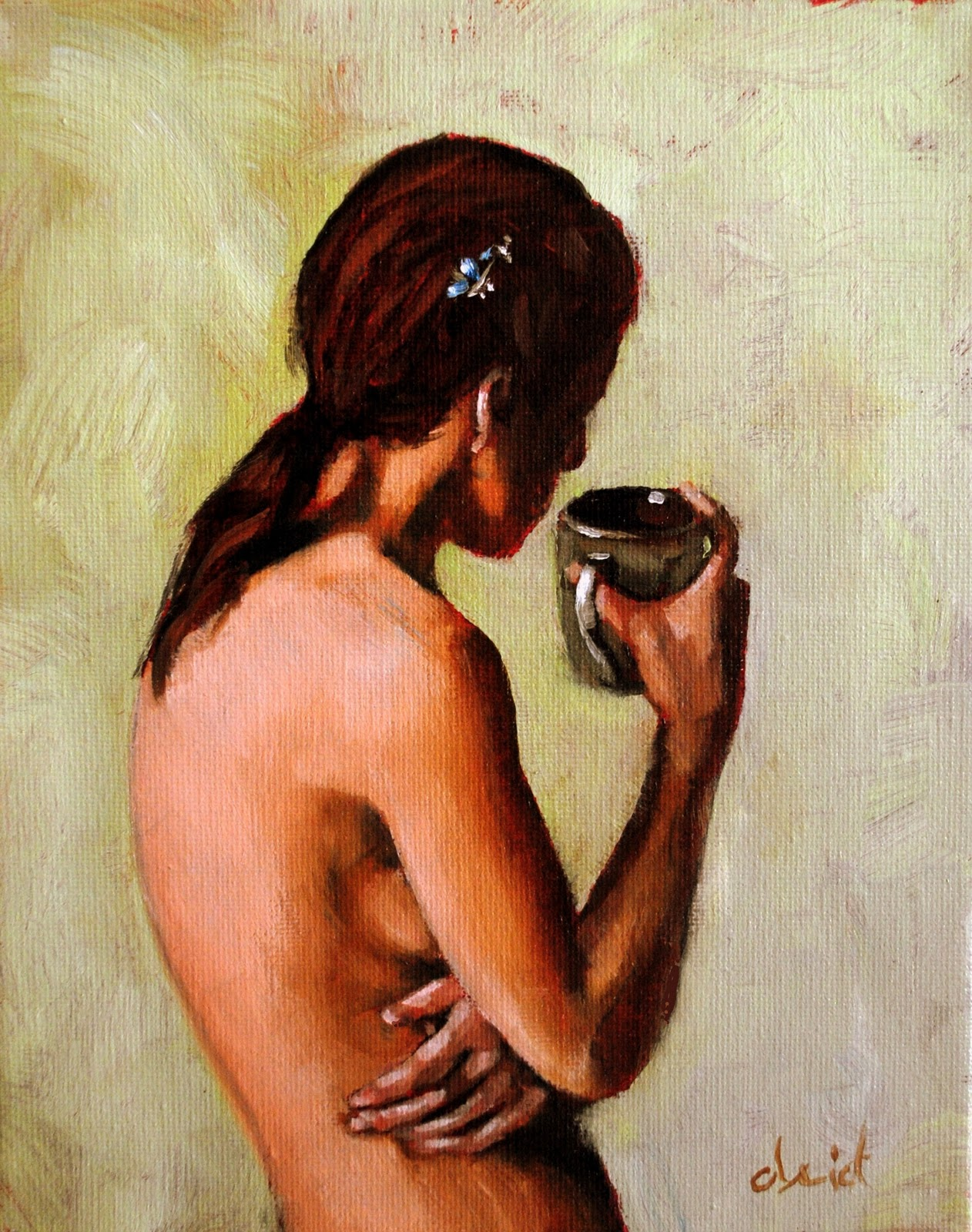 """A Cup Half Full 8x10 oil on canvas in darkwood frame"" original fine art by David Larson Evans"