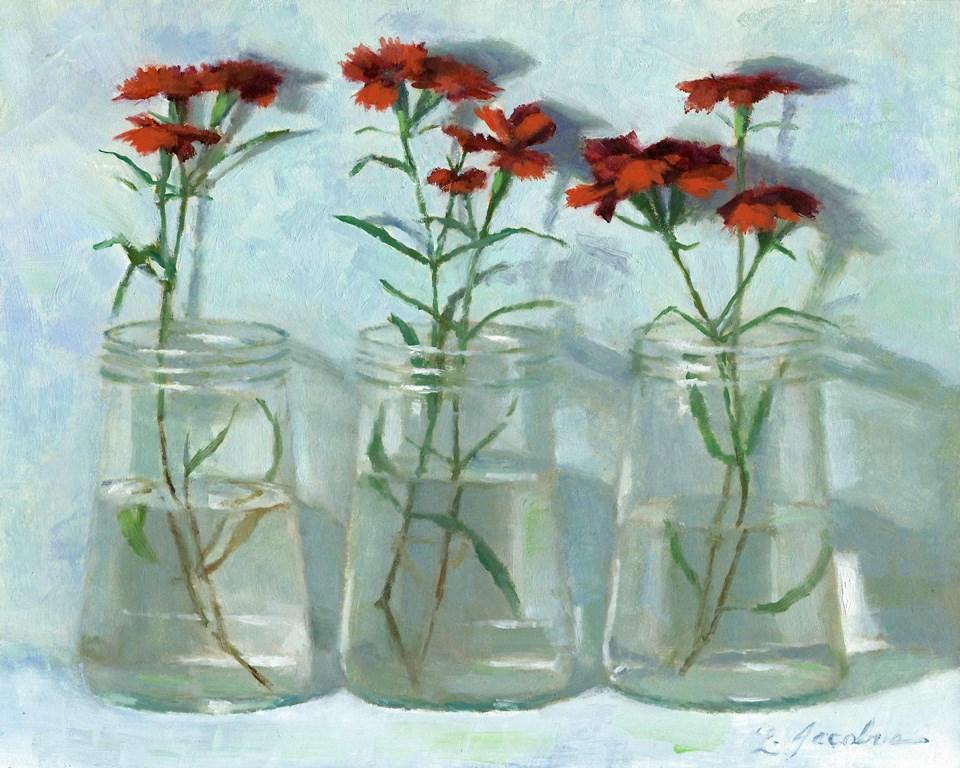 """Red Dianthus"" original fine art by Linda Jacobus"