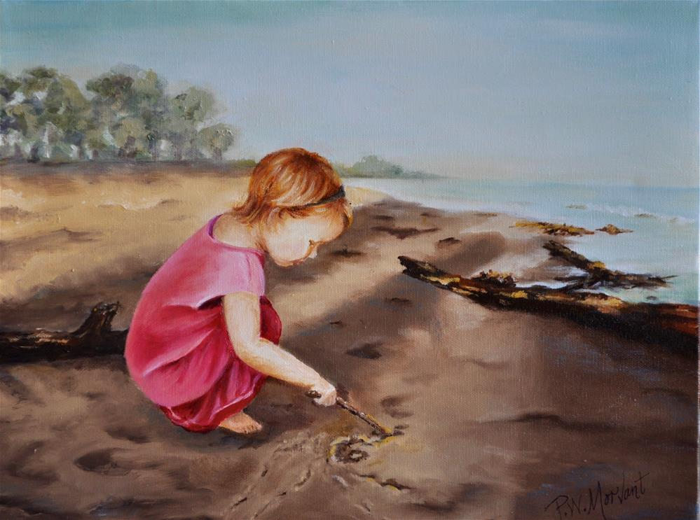 """Charlotte on the Beach"" original fine art by Peggy W Morvant"