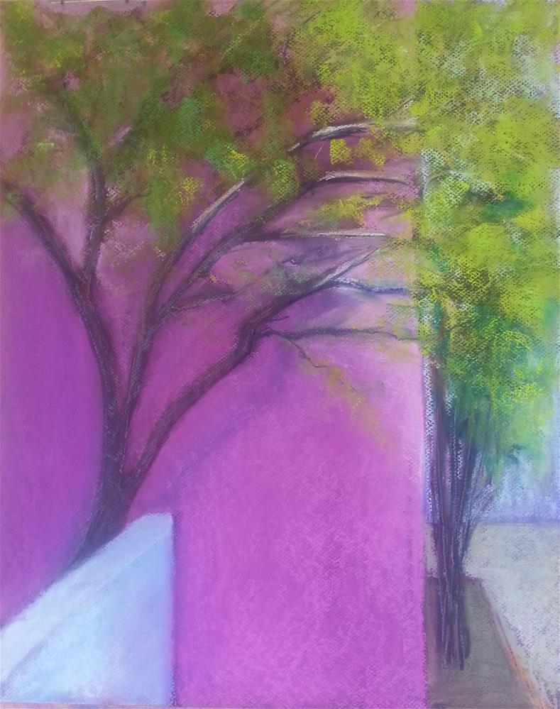 """Pink Wall Green Tree"" original fine art by Anna Lisa Leal"