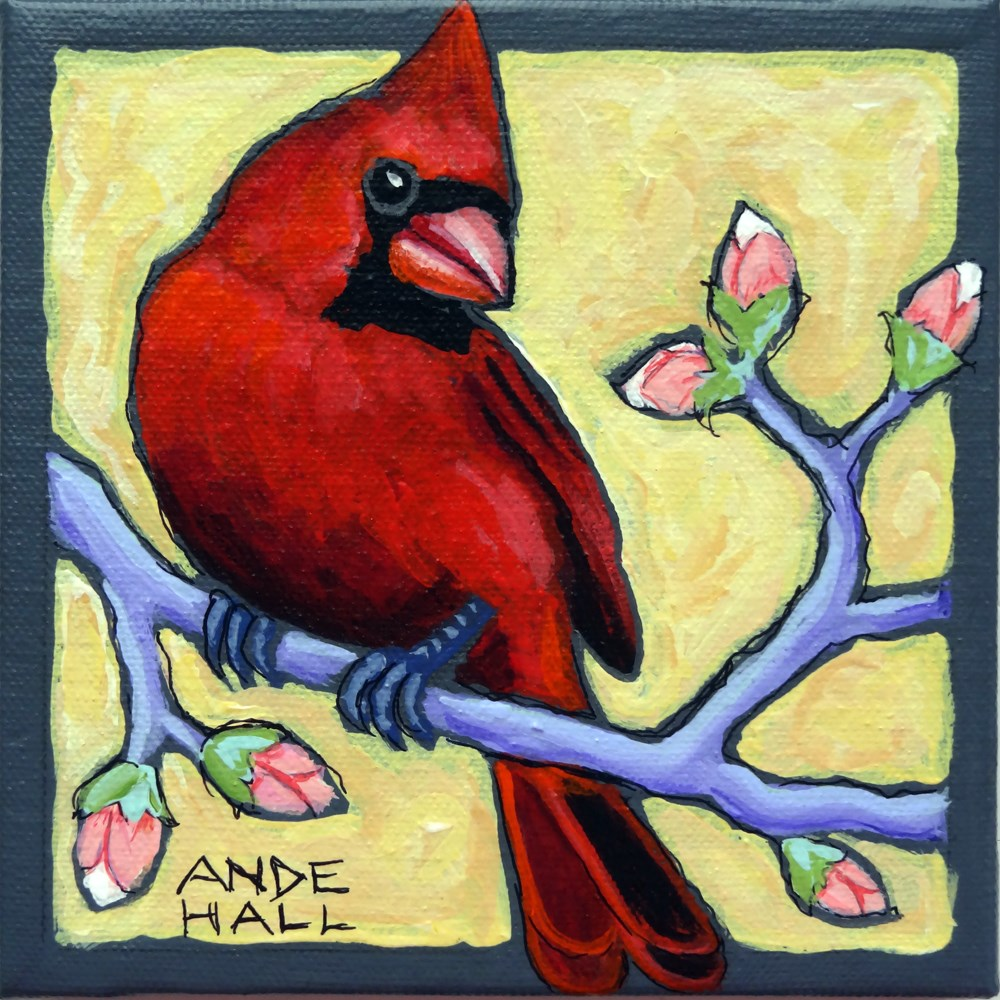 """Rebird with Buds"" original fine art by Ande Hall"