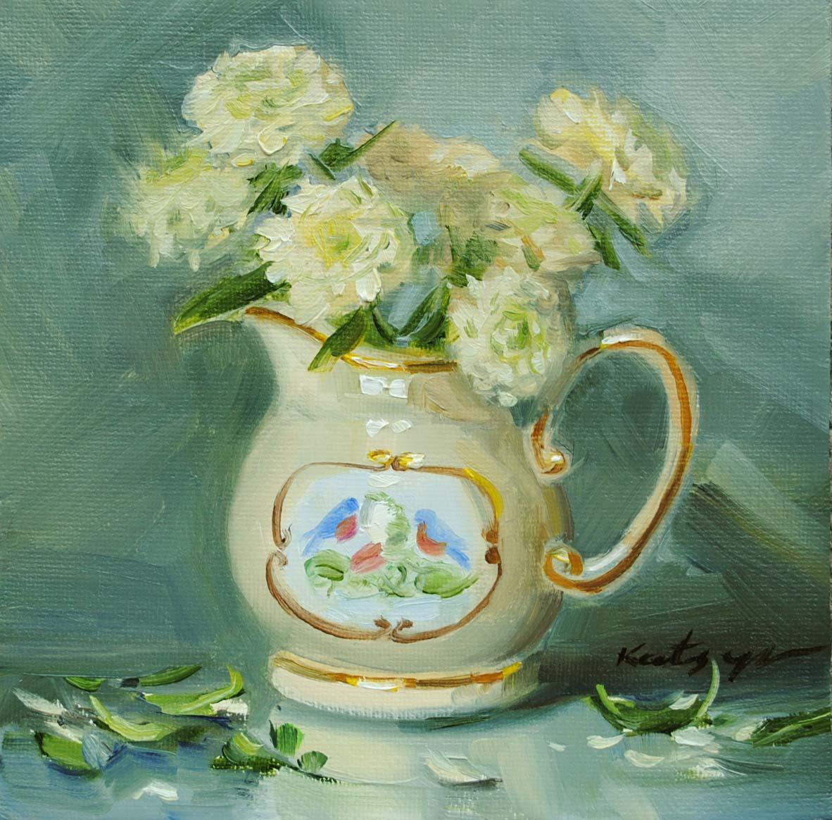 """""""White Chrysanthemums"""" original fine art by Elena Katsyura"""