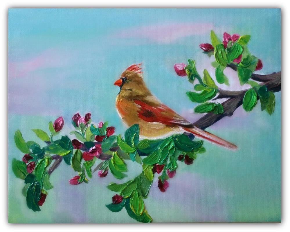 """BIRD and BUDS"" original fine art by Dana C"