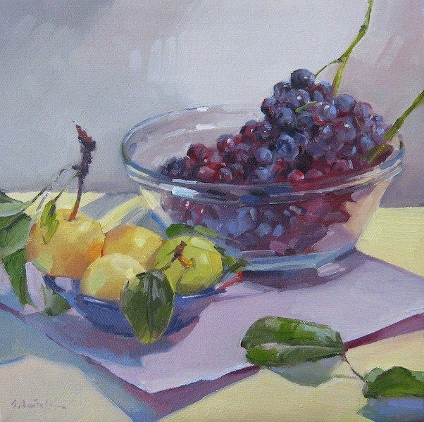 """Grapes and Asian Pears fruit bowl painting fine art still life original oil"" original fine art by Sarah Sedwick"