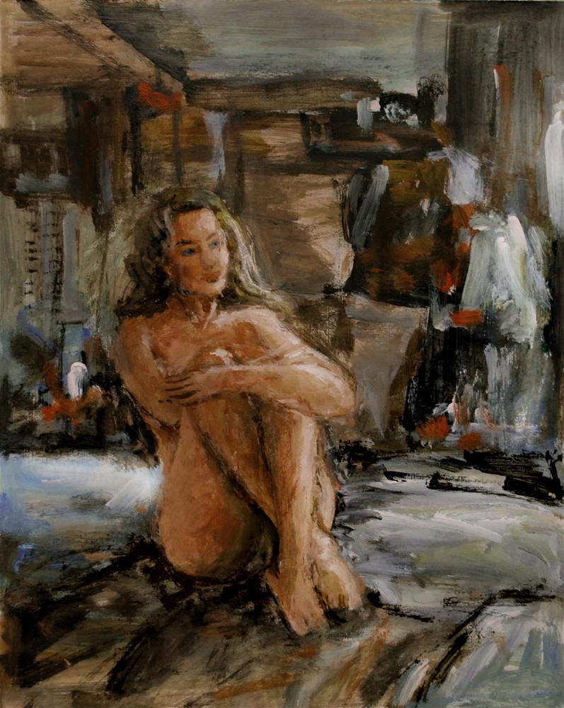 """Girl sitting"" original fine art by vishalandra dakur"