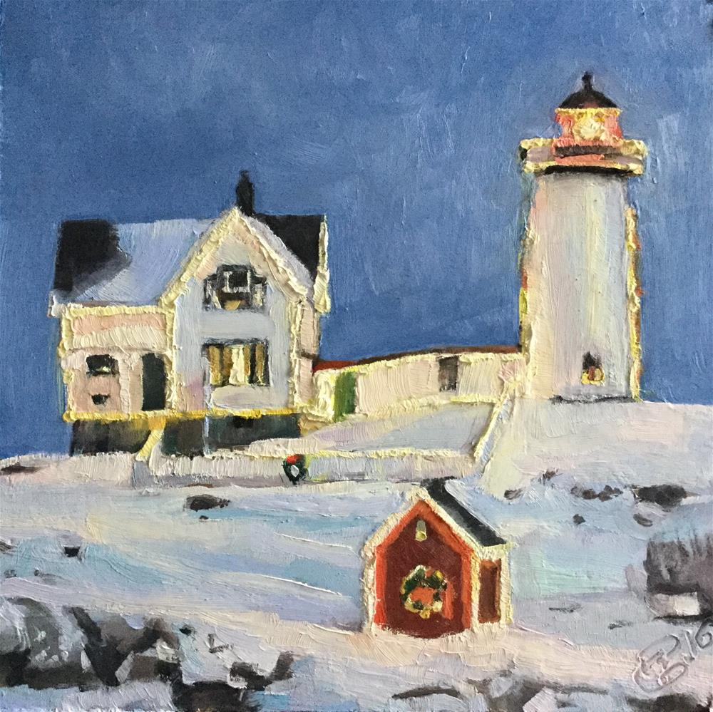"""Christmas at Nubble Lighthouse"" original fine art by Paula Howson-Green"