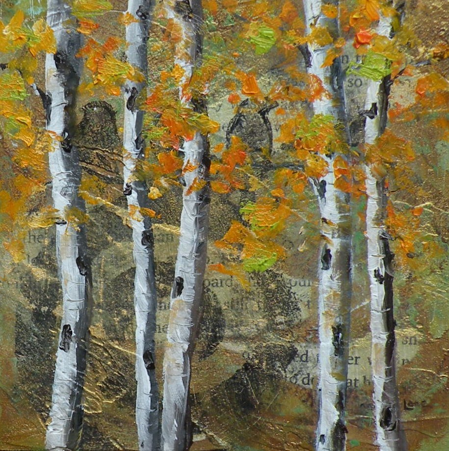 """AUTUMN ASPEN ORIGINAL MIXED MEDIA ASPEN LANDSCAPE © SAUNDRA LANE GALLOWAY"" original fine art by Saundra Lane Galloway"