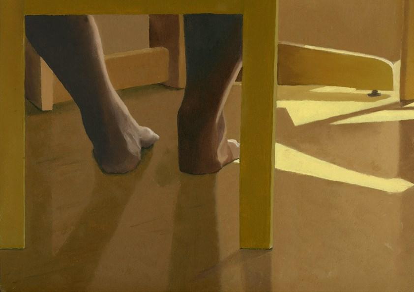 """UNDER THE TABLE"" original fine art by Nancy Herman"