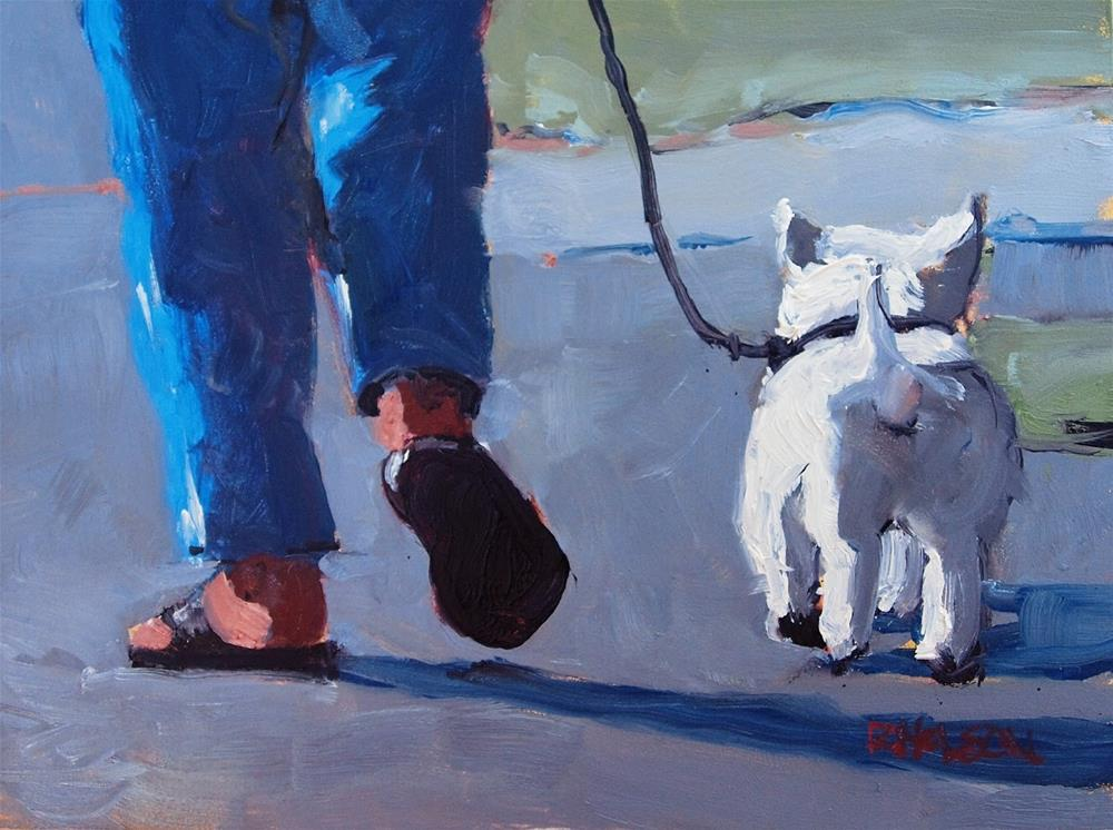 """Little White Dog"" original fine art by Rick Nilson"