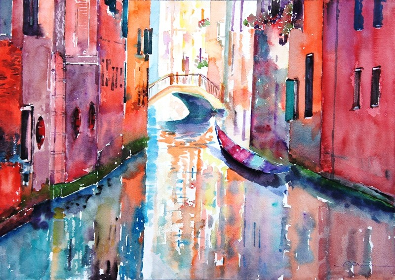 """Venice in love-3"" original fine art by Lisa Fu"