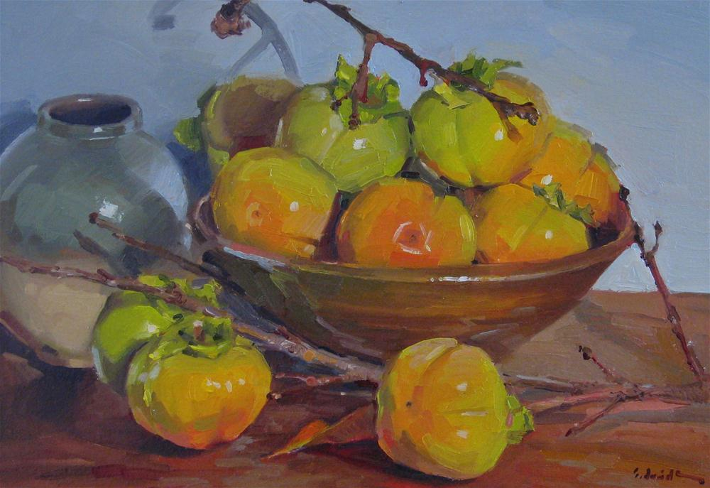 """Ripening Persimmons art still life fruit bowl original oil painting one dollar auction"" original fine art by Sarah Sedwick"