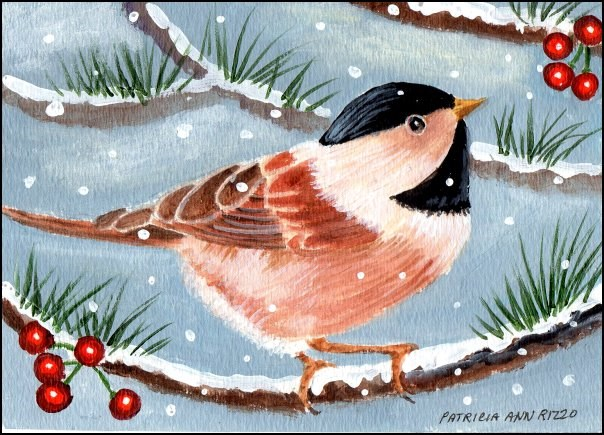 """Tiny Chickadee"" original fine art by Patricia Ann Rizzo"