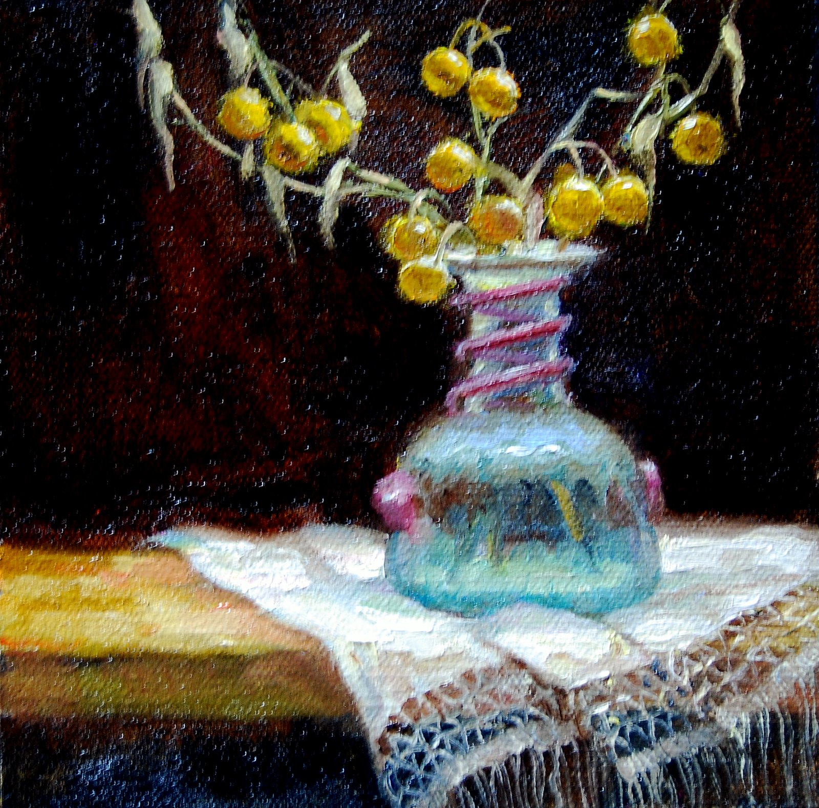 """Ancient Glass with Berries"" original fine art by Julie Ford Oliver"