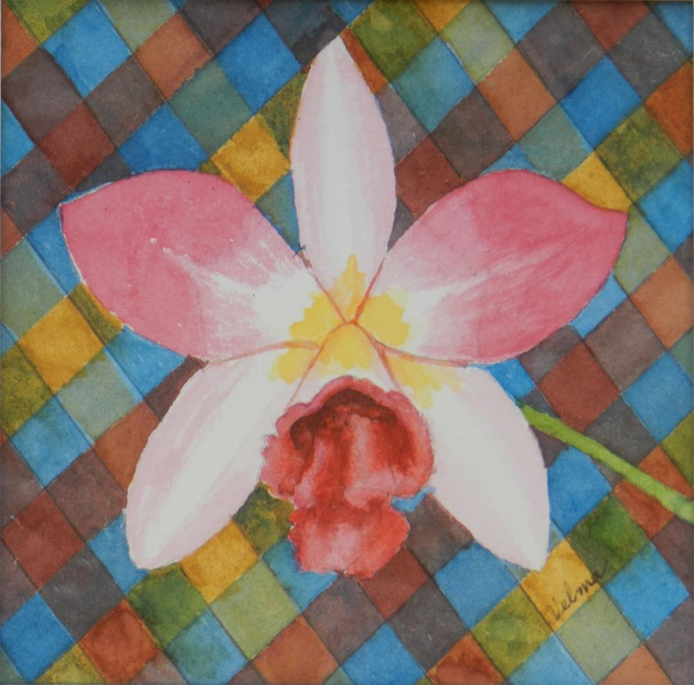 """Orchid with Plaid"" original fine art by Velma Davies"