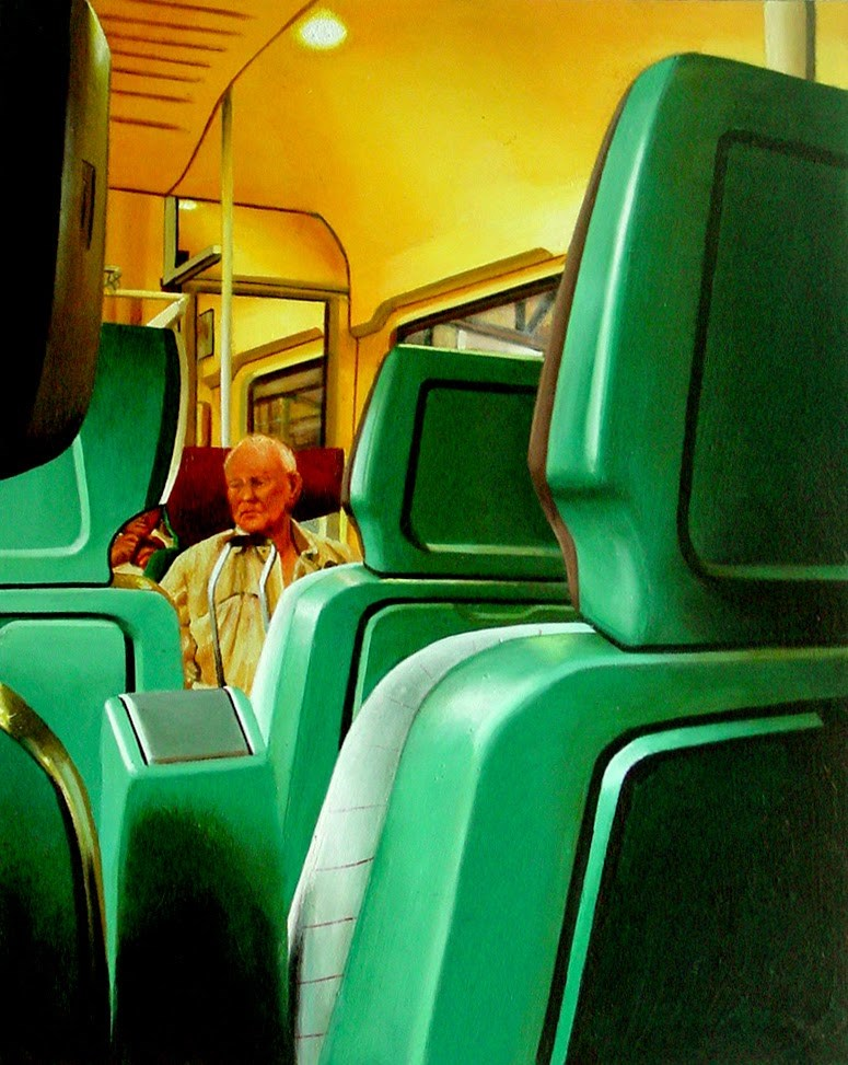 """Coupé- City Scene Painting Of Man In Train Carriage"" original fine art by Gerard Boersma"