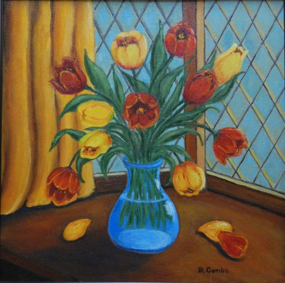 """Tulips in the Window"" original fine art by Bebe Combs"