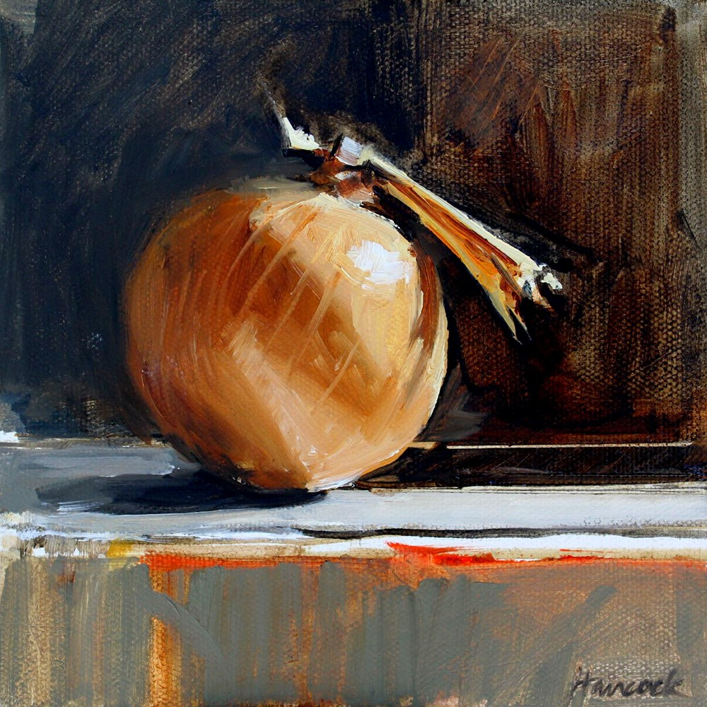 """Golden Onion in Shadow"" original fine art by Gretchen Hancock"