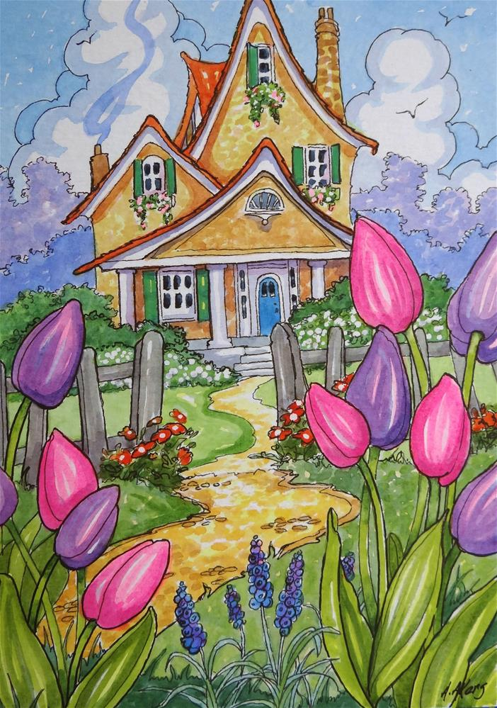 """""""Tis Tulip Time Little Storybook Cottage Series"""" original fine art by Alida Akers"""