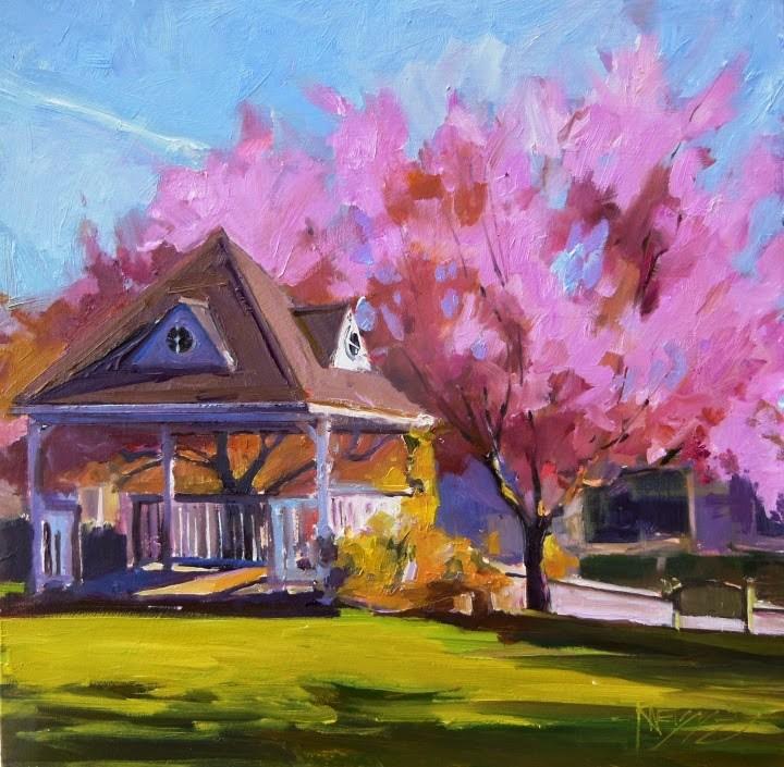 """Gazebo Bainbridge Island, plein air, urban, landscape painting by Ropbin Weiss"" original fine art by Robin Weiss"