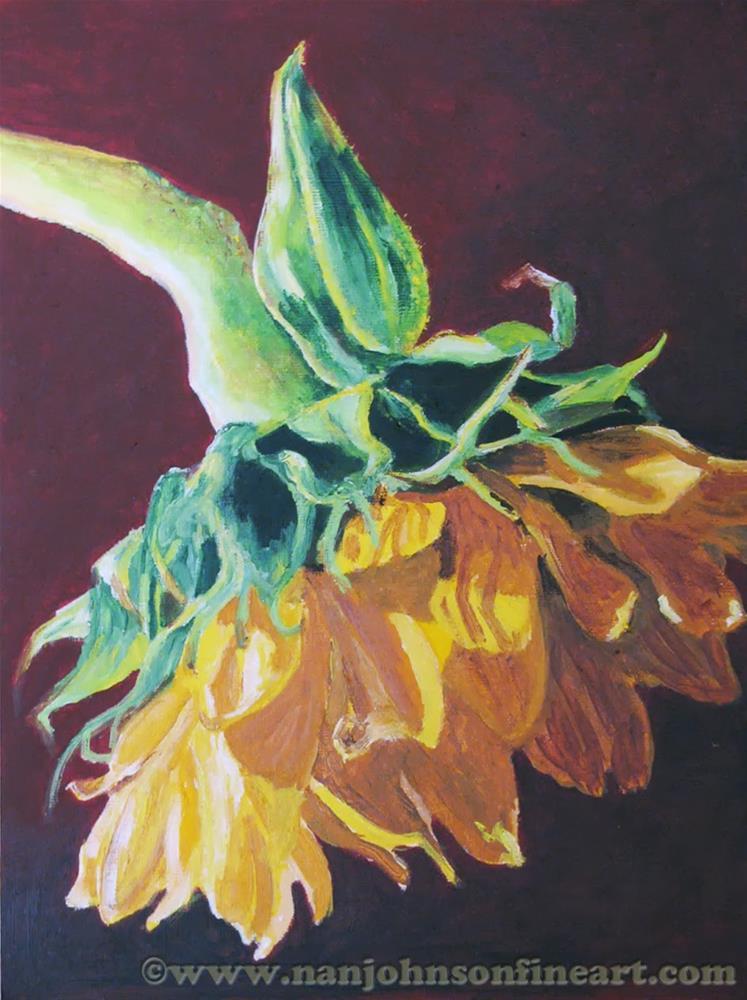 """""""Weeping Sunflower"""" original fine art by Nan Johnson"""