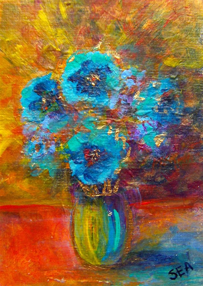 """3271 - HIMALAYAN BLUE POPPIES - ACEO Series"" original fine art by Sea Dean"