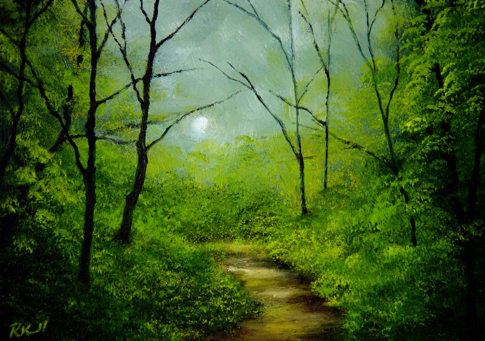 """Wooded Trail"" original fine art by Bob Kimball"