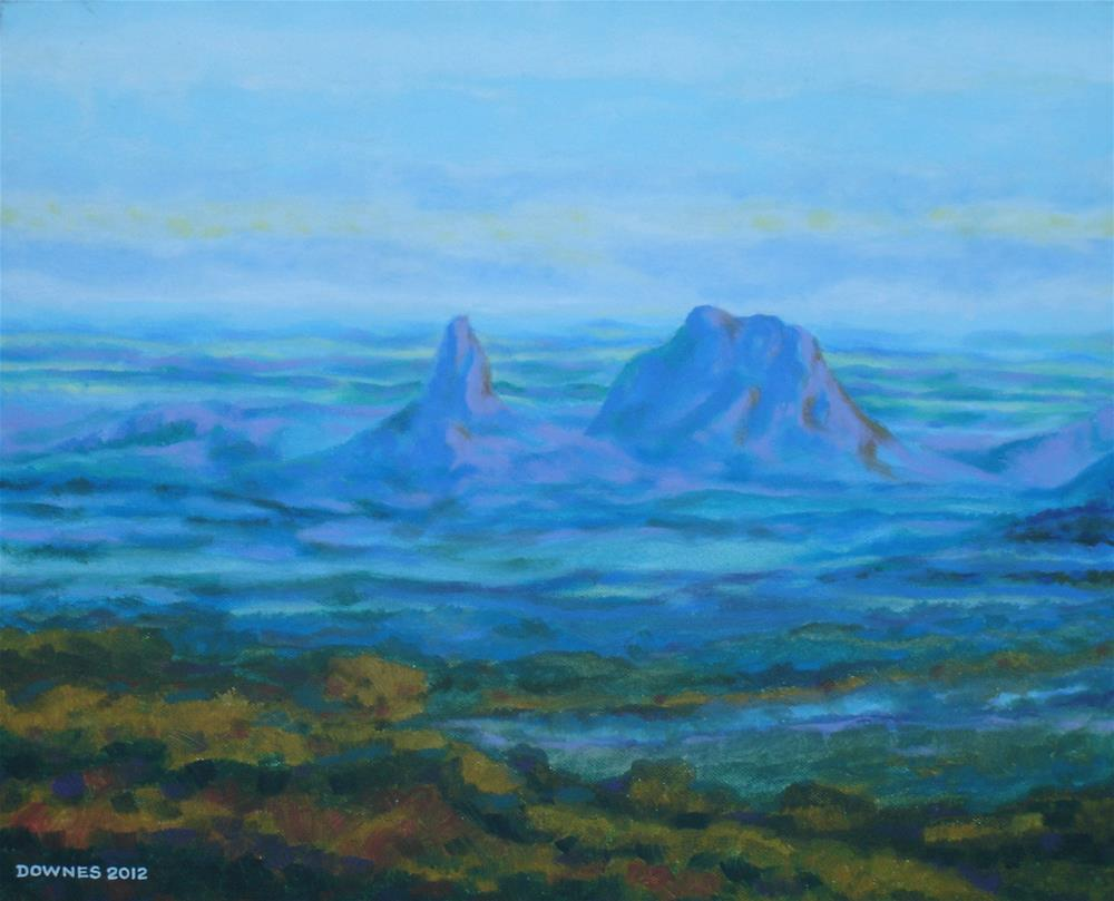 """270 GLASSHOUSE MOUNTAINS 7"" original fine art by Trevor Downes"