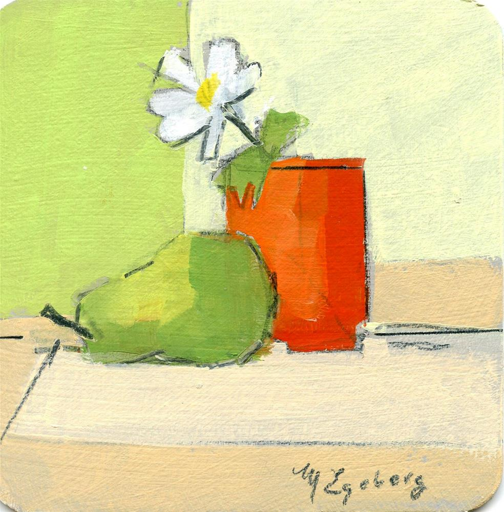 """Pear with Orange vase and Daisy"" original fine art by Mitch Egeberg"