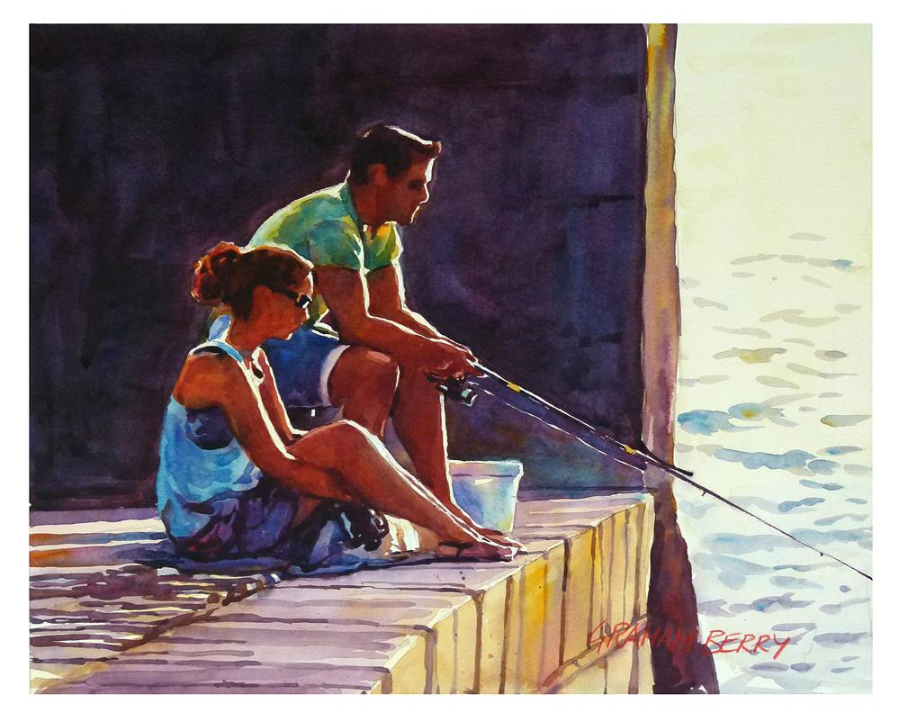 """'Shopping or fishing'?"" original fine art by Graham Berry"