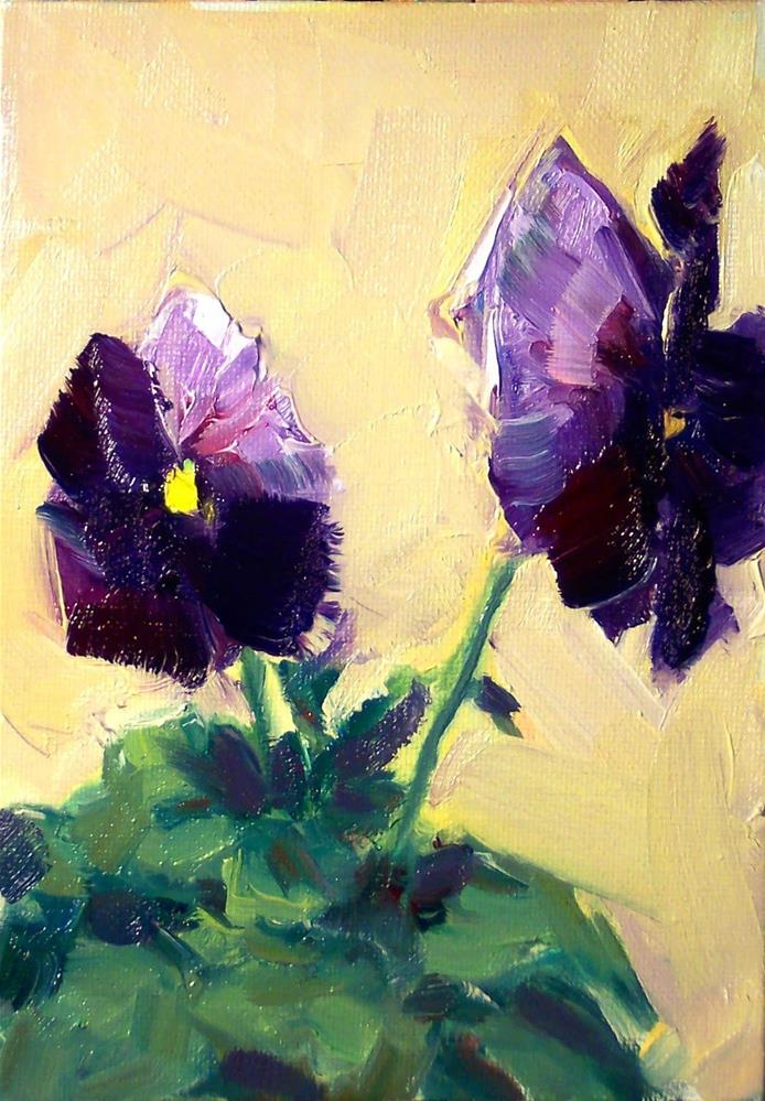 """New Year's Pansies,still life, oil on canvas,7x5,price$150"" original fine art by Joy Olney"