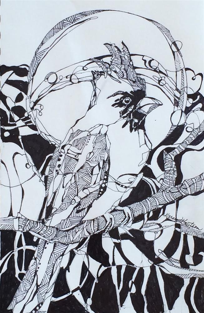 """Cardinal Calling, Wire Drawing #2, Within 30 Days"" original fine art by Karen Knutson"