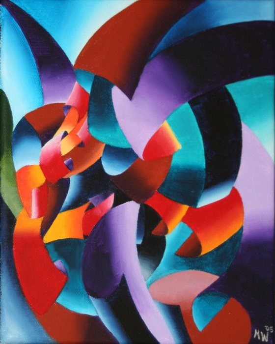 """Mark Adam Webster - Abstract Futurist Chess Player Oil Painting"" original fine art by Mark Webster"
