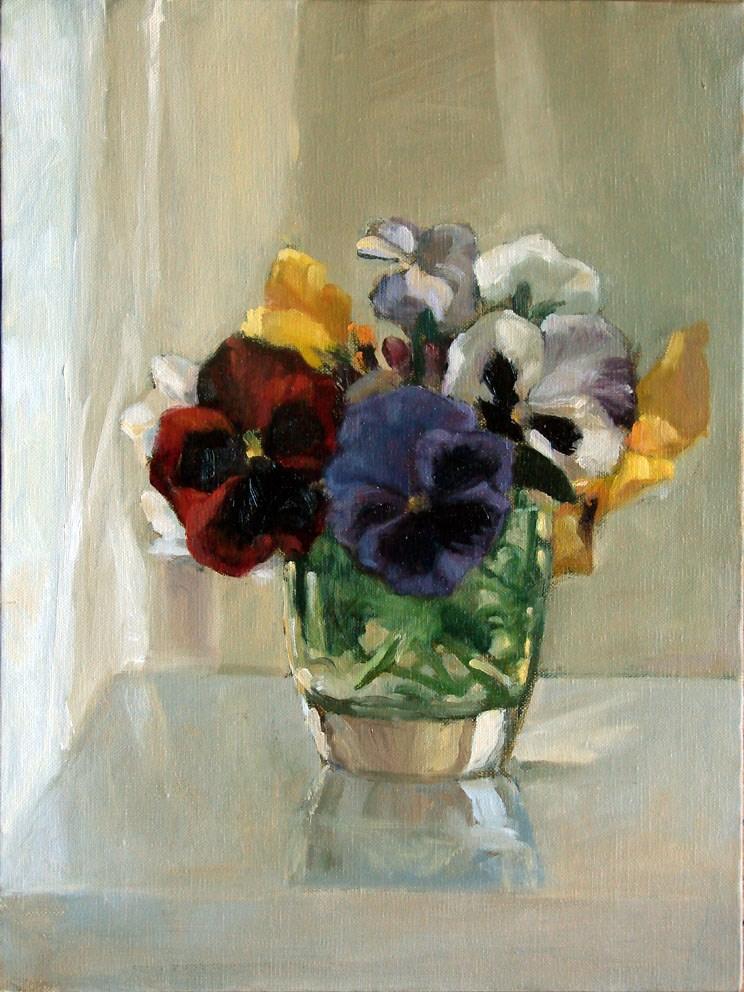 """""""Pansies by curtains"""" original fine art by Myriam Kin-Yee"""