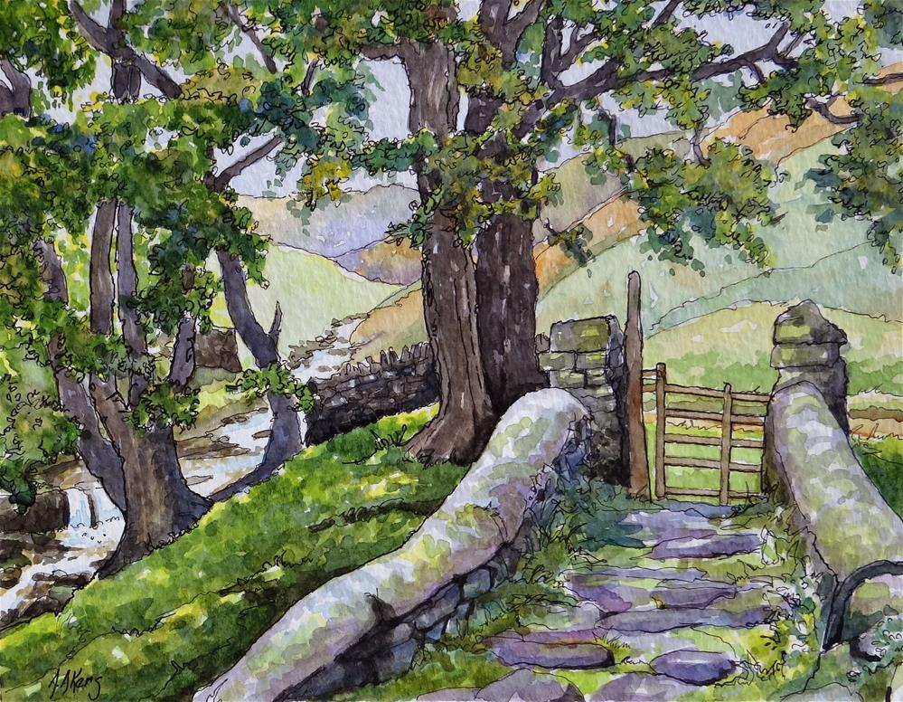 """Yorkshire  UK Scenes from Summer Wine Landscape"" original fine art by Alida Akers"