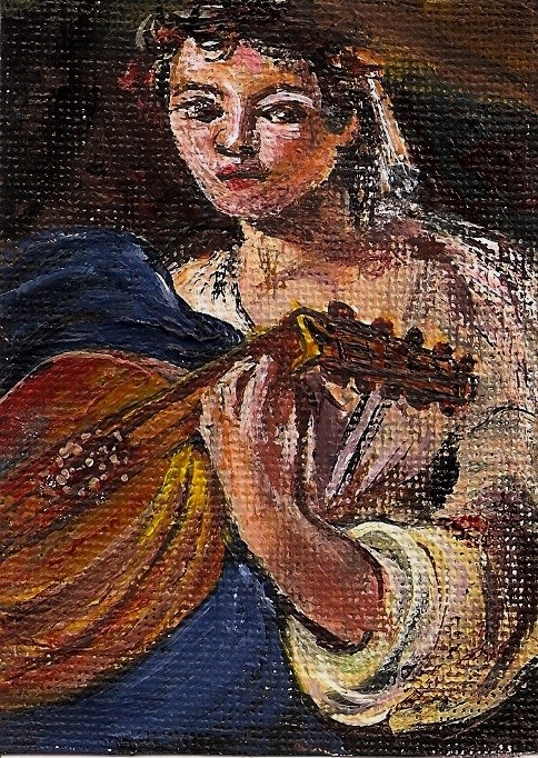 """""""ACEO Lute Player in the style of Caravaggio Miniature Masters Penny StewArt"""" original fine art by Penny Lee StewArt"""
