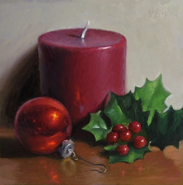 """Christmas Candle"" original fine art by Debra Becks Cooper"