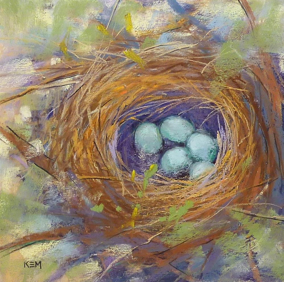 """Bird Nest with Eggs"" original fine art by Karen Margulis"