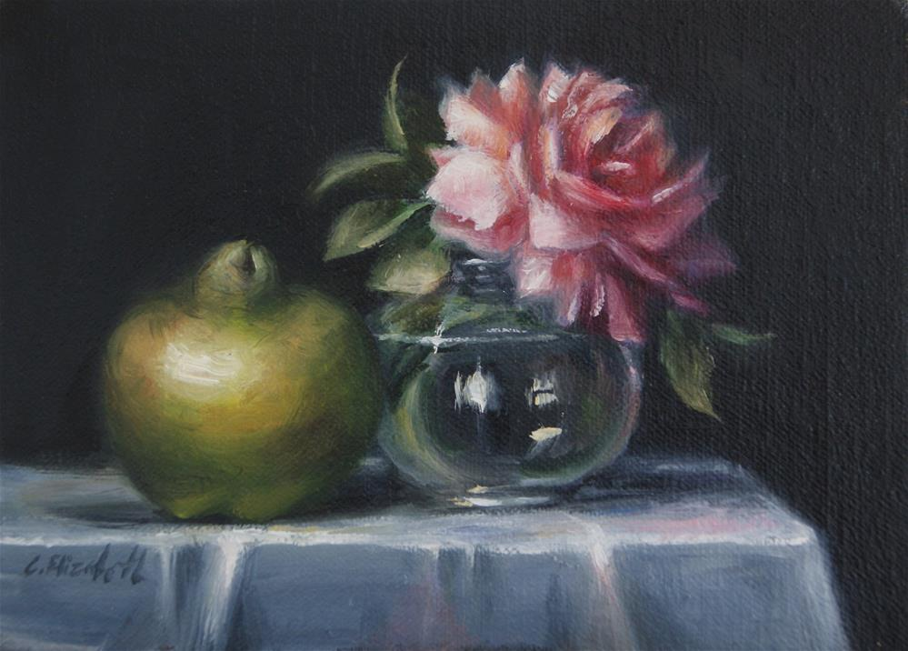 """Still Life with Pink Rose and Quince Fruit,  Oil on 5x7 Linen Panel"" original fine art by Carolina Elizabeth"