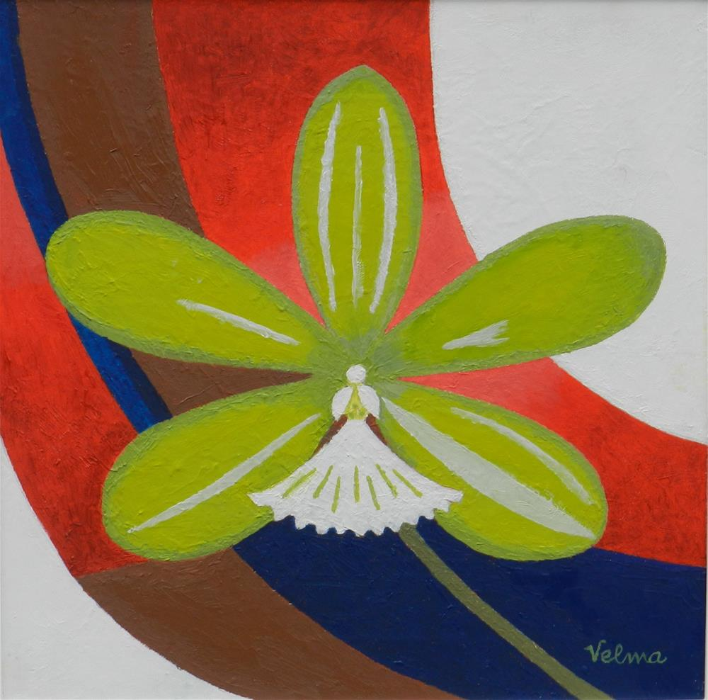 """Green Orchid"" original fine art by Velma Davies"