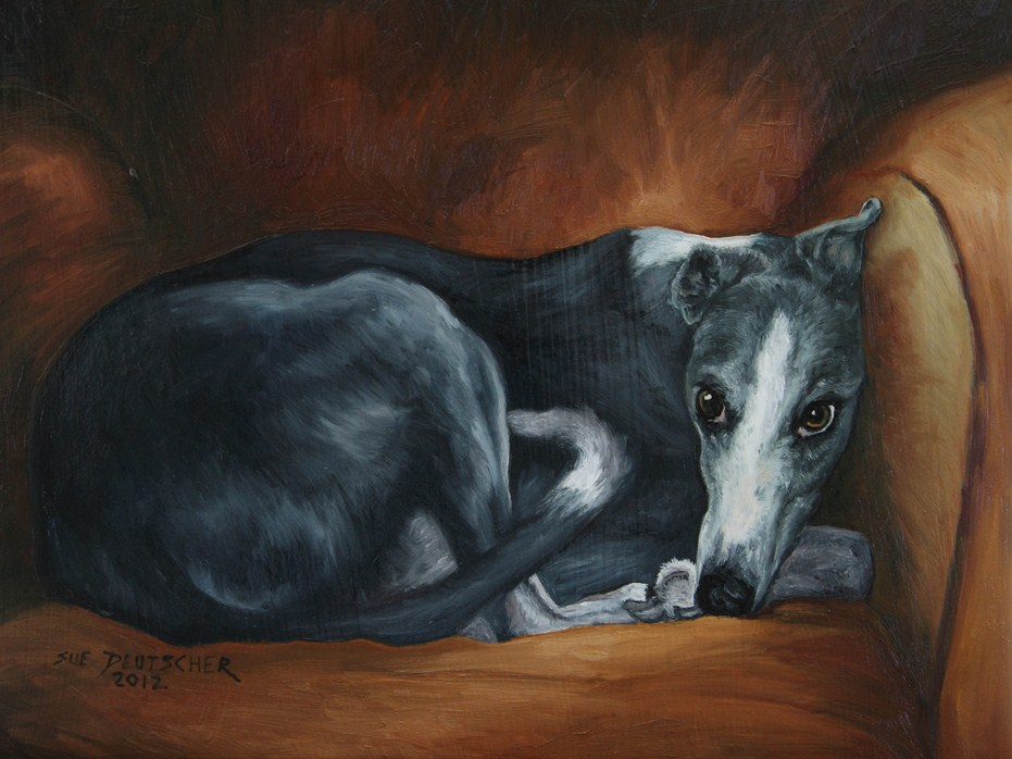 """Whippet"" original fine art by Sue Deutscher"