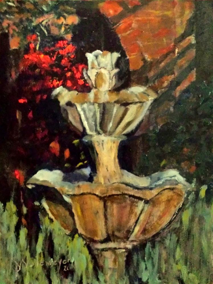 """""""Last light on the fountain"""" original fine art by Pamela Wedemeyer"""