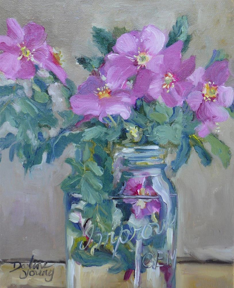 """992 Wild Roses in a Mason Jar, 8x10, oil"" original fine art by Darlene Young"