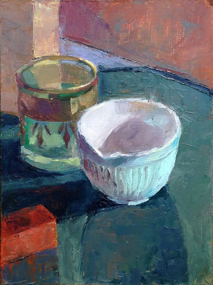 """""""Little Blue Bowl & Friend"""" original fine art by Myriam Kin-Yee"""
