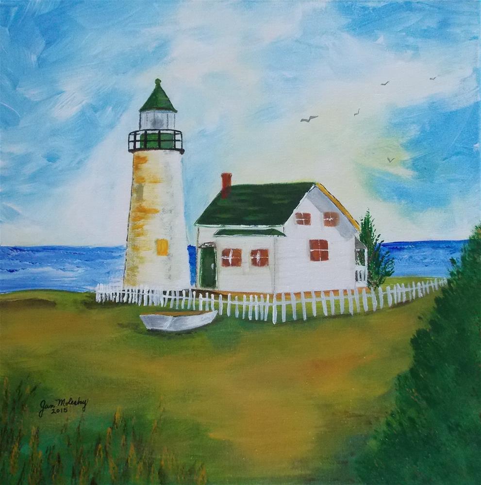 """Lighthouse by the Sea"" original fine art by Jan Molesky"