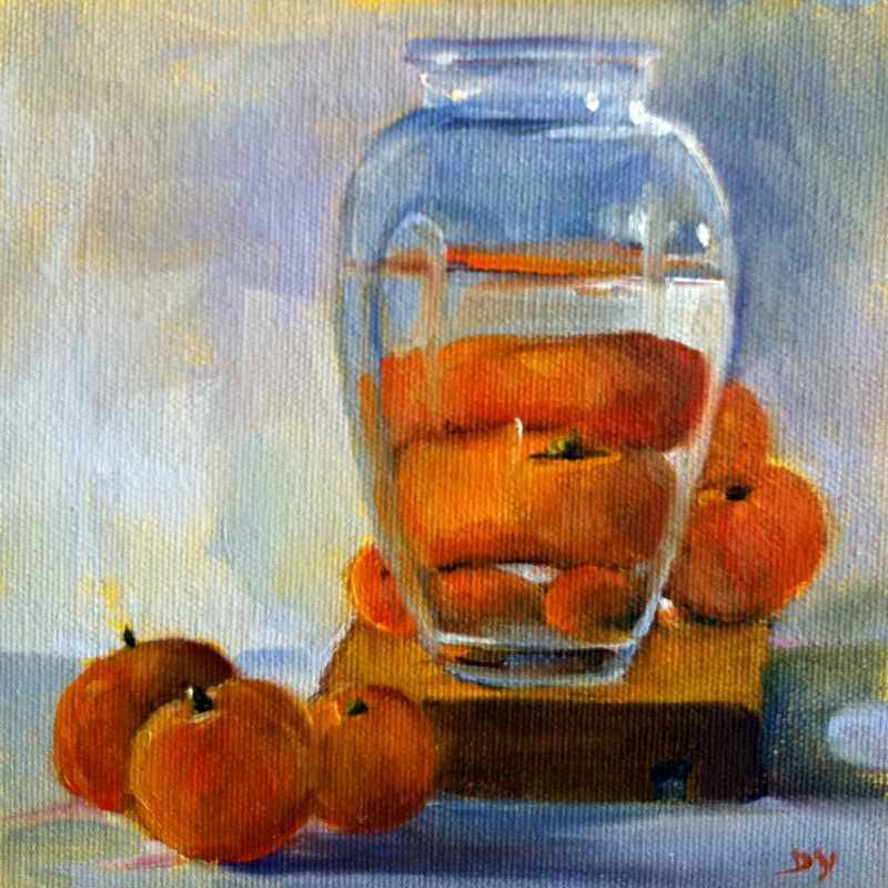 Whose There?, oil on canvas board, 6x6 original fine art by Darlene Young