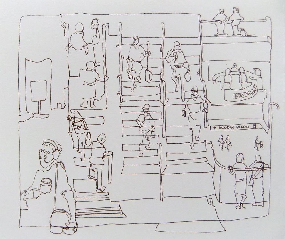 """fun at the mall"" original fine art by Nora MacPhail"