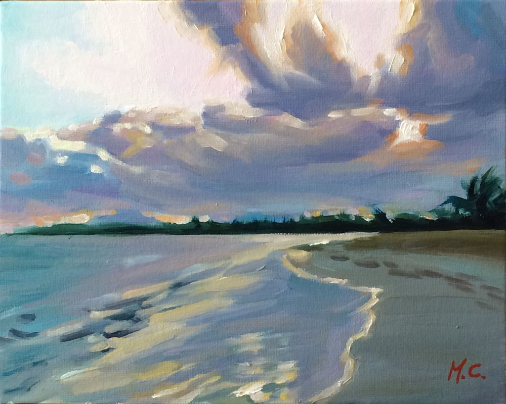 """Sunset beach"" original fine art by Michelle chen"