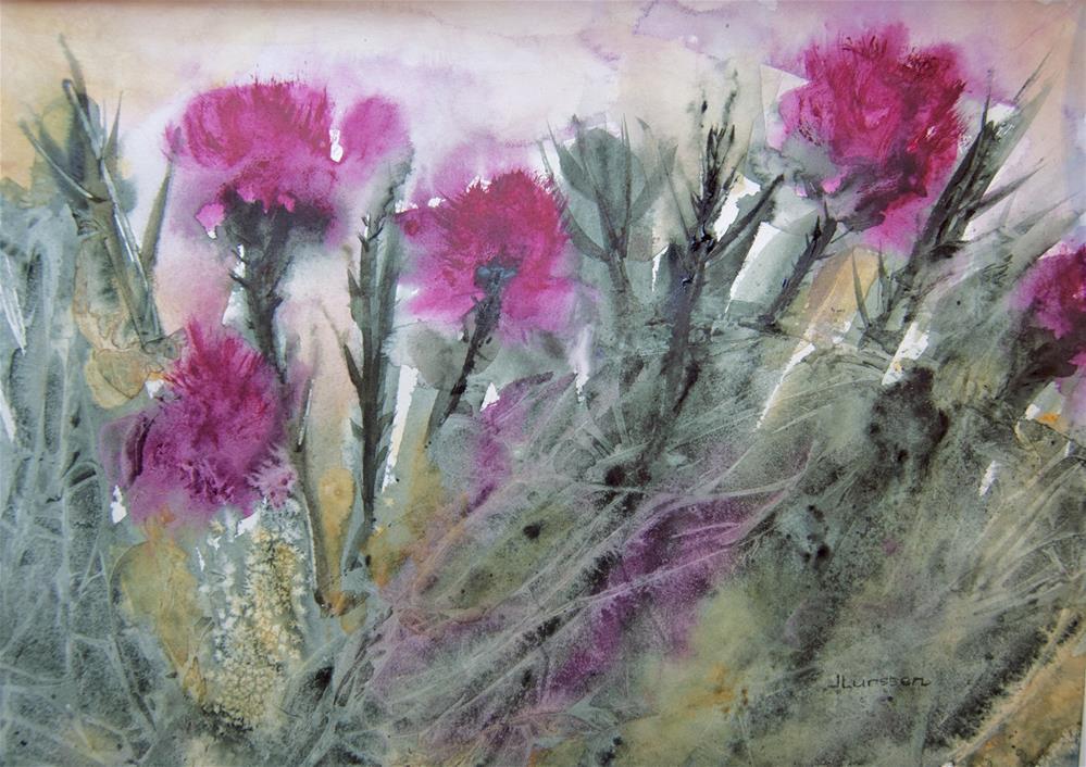 """""""Thistles"""" original fine art by Jean Lurssen"""