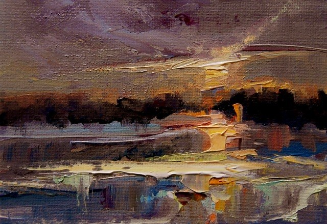 """Sunset on Frozen Lakes"" original fine art by Anne Wood"